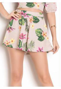 Shorts Floral Modelagem Ampla