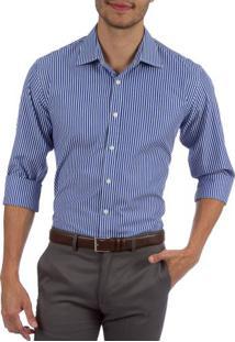 Camisa Social Masculina Upper Azul Listrada