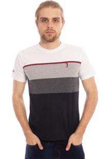 Camiseta Aleatory Listrada Bond Masculina - Masculino-Branco+Preto