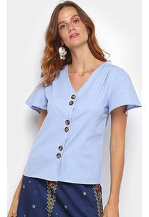 Blusa Dom Fashion Botões Feminina - Feminino-Azul
