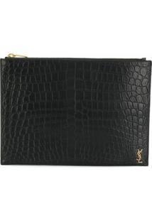 Saint Laurent Monogram Embossed Pouch - Preto