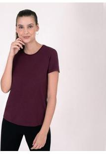 Camiseta Reta Feminina Gola C - Feminino-Vinho