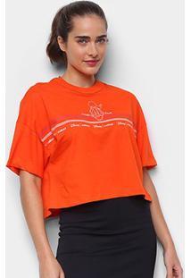 Camiseta Colcci Cropped Disney Donald Duck Feminina - Feminino-Laranja