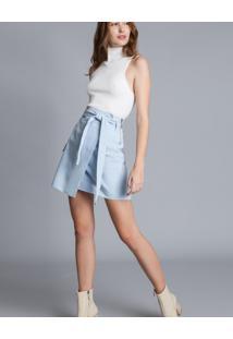 Saia Jeans Clochard Com Cinto Azul Nuvem - Lez A Lez