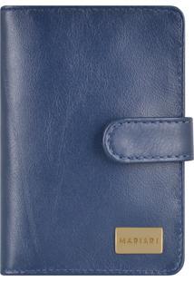 Carteira Couro Mariart Logo Azul Marinho