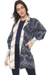 Kimono Sacada Marquesa Azul-Marinho/Bege