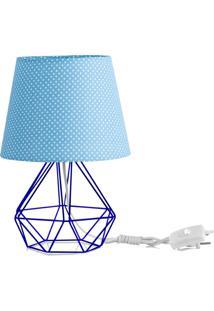 Abajur Diamante Dome Azul/Bolinha Com Aramado Azul
