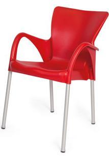 Cadeira Armenia Em Polipropileno Vermelho Com Pes Aluminio - 47956 - Sun House