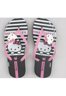 Chinelo Infantil Ipanema Hello Kitty Estampado Listrado Preto