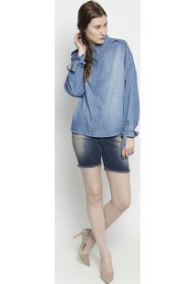 Bermuda Jeans Destroyed- Azul- Zamany Jeanszamany Jeans