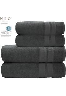 Toalha De Rosto Neo Allure- Cinza Escuro- 45X80Cm