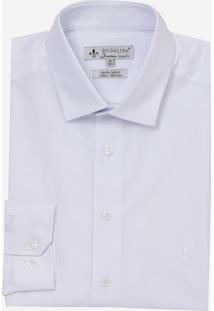 Camisa Dudalina Manga Longa Tricoline Liso Masculina (Branco, 34)