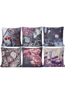 Kit 6 Capas De Almofadas 45Cm X 45Cm Suede Digital Print Floral - Bene Casa - Unico - Dafiti