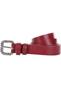 Cinto Couro Shoestock Fivela Textura Feminino - Feminino-Vermelho