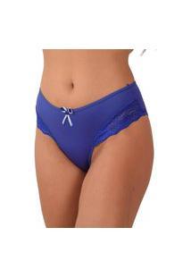 Calcinha Vip Lingerie Microfibra Lisa Com Renda Lateral Azul
