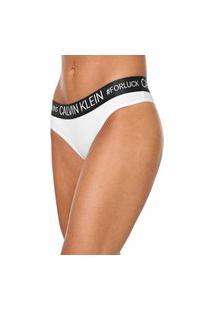 Calcinha Calvin Klein Underwear Tanga Reveillon Branca/Verde