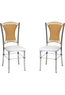 Conjunto Com 2 Cadeiras Katnis Branco E Marrom