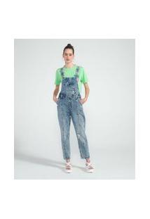 Macacão Longo Jeans Liso Com Puídos E Bolso Diferenciado | Blue Steel | Azul | M