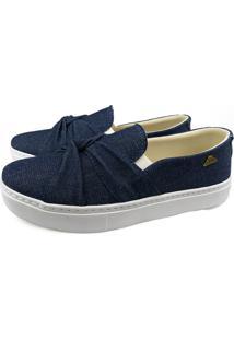 Tênis Casual Sapaxonadas Slip On Trançado Jeans Azul