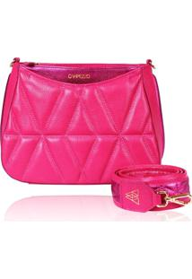 Bolsa Tiracolo De Couro Dayana Rosa Pink Matelasse - Kanui