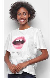 Camiseta Forum Básica Boca Feminina - Feminino-Areia