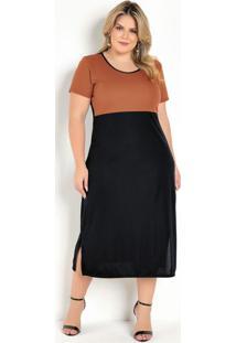 Vestido Midi Preto E Caramelo Fendas Plus Size