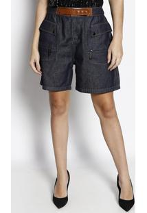 Bermuda Jeans Com Recortes- Azul & Marrom- Maria Valmorena Rosa