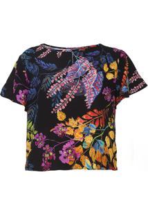 Blusa Sommer Floral Preta - Kanui
