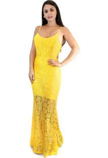 2b0652b3b ... Vestido De Festa Amarelo Em Renda Longo
