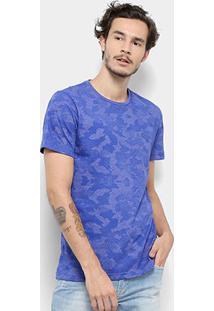 Camiseta Bulldog Fish Camuflada Masculina - Masculino-Azul Royal