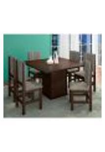Conjunto De Mesa Com 8 Cadeiras Solange Tabaco E Bege