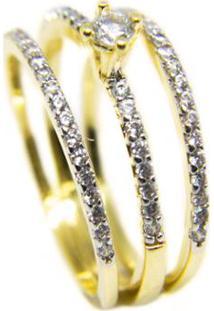 Anel Solitario E Aparadores Fino Semijoia Banho De Ouro 18K Cravacao De Zirconias Detalhe Em Rodio - Feminino-Dourado