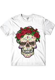 Camiseta Long Beach Caveira Coroa Sublimada Masculina - Masculino-Branco