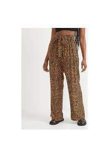 Calça Pantalona Em Viscose Estampa Animal Print E Faixa Para Amarração | Blue Steel | Amarelo | Pp