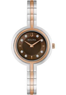 Relógio Bulova Feminino Aço Prateado E Rosé - 98P194