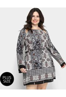 Vestido Heli Curto Evasê Estampado Plus Size - Feminino-Cinza