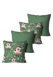 Kit 4 Capas Para Almofadas De Natal Merry Christmas Green 45X45Cm