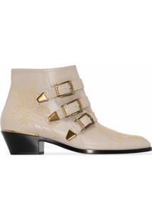 Chloé Ankle Boot Susanna Bege De Ouro Com Tachas - Neutro