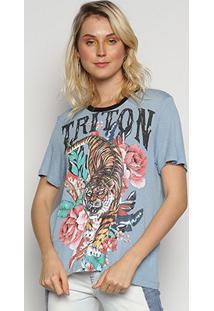 Camiseta Triton Linho Estampada Leão Floral Feminina - Feminino-Estampado