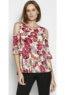 Blusa Floral Com Franzidos- Amarela & Vermelha- Moismoisele