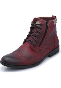 Bota Bergally Casual Com Ziper Bordo
