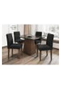 Conjunto De Mesa De Jantar Com Tampo De Vidro Jasmin E 4 Cadeiras Ana I Veludo Preto