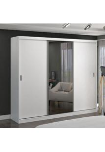 Guarda Roupa Casal 3 Portas C/ 1 Espelho 100% Mdf Branco Foscarini
