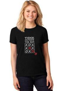 Camiseta T-Shirt Think Outside The Box Baby Look Feminina - Feminino-Preto
