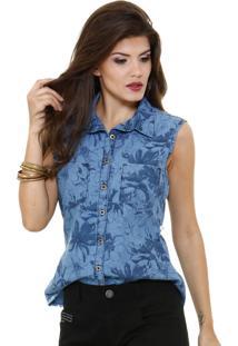 Camisa Feminina Em Jeans Estampa Floral Marisa