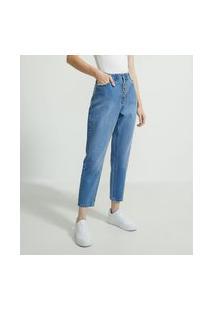 Calça Mom Jeans Com Cós Elástico E Botões Frontais