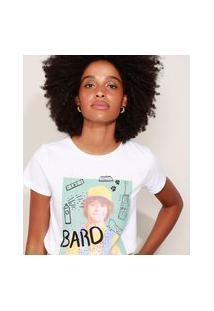 Camiseta Feminina Dustin Stranger Things Manga Curta Decote Redondo Off White