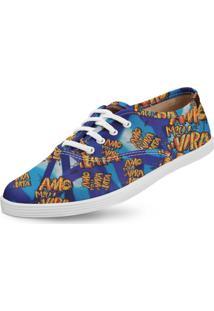 Tênis Usthemp Amy Vegano Amo Meu Vira-Lata Por Wolpy Azul