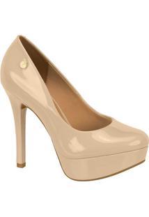 Sapato Meia Pata Envernizado- Bege- Salto: 12,5Cm