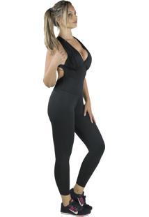 Macacão 4 Estações Com Bojo Longo Fitness Esporte Feminino Colado Decote Preto - Kanui
